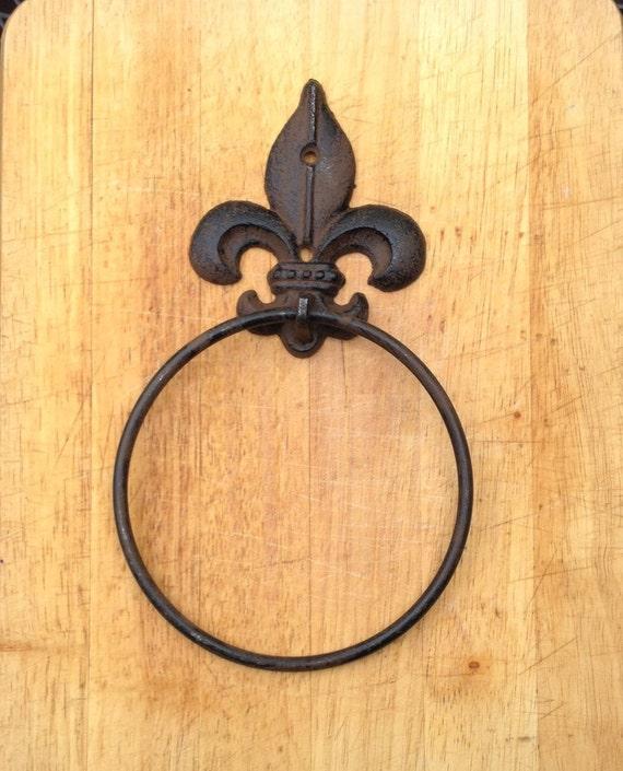 Cast Iron Antique Style Rustic FLEUR DE LIS Door Knocker TOWEL RING Holder