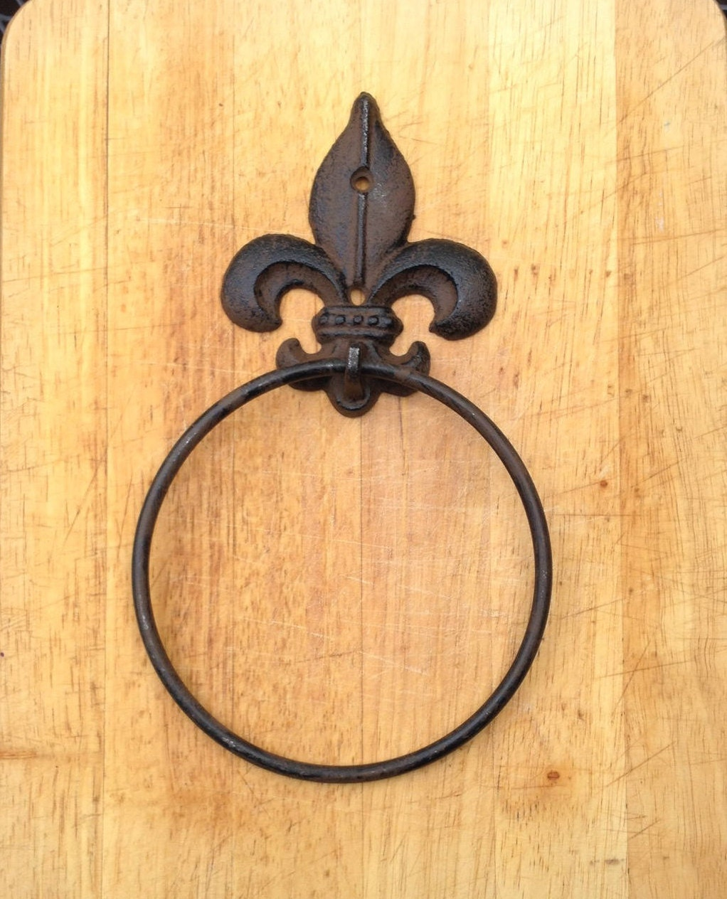 Cast Iron Fleur Dis Lis Towel Ring Holder Rustic French New | Etsy