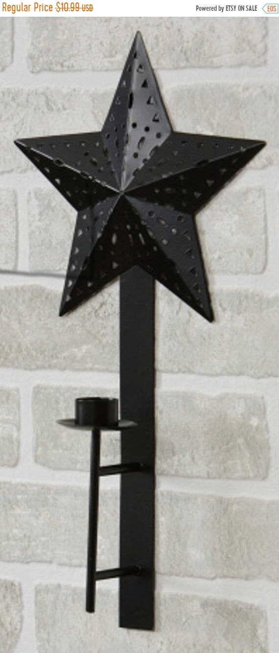 Black Wall Sconce Taper Holder Candle Holder Barn Star Wrought Iron Primitive