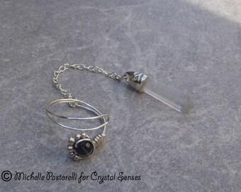 Clear Quartz Point Dowsing Pendulum Ring (DP0350)