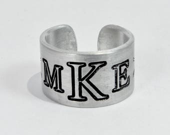 """Custom Monogram Ring / Personalized Monogram Ring / Gift for Daughter / Wedding Party Gift  / Graduation /  1/2"""" aluminum silver cuff ring"""