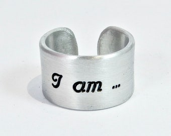"""READY TO SHIP ~ I am ... a survivor Message Ring ~ 1/2"""" cuff ring / Encouragement Gift / Inspirational Gift / Recovery Gift"""