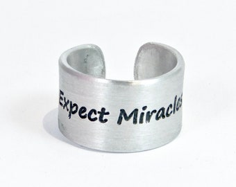 """READY TO SHIP Expect Miracles Fuck Cancer / Recovery Gift / Survivor Gift / Message Ring / 1/2"""" cuff ring"""