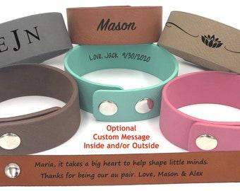 Vegan Leather Bracelet   Personalized Au Pair Gift   Nanny Gift   It takes a big heart to help shape little minds   Custom Jewelry Bracelet