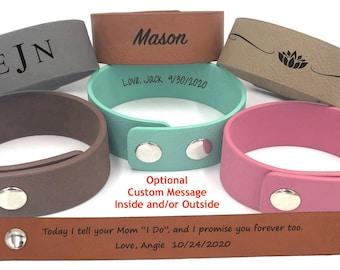 "Today I tell your Mom ""I Do"", and I promise you forever too   Vegan Leather Bracelet   Blended Family Gift   Stepdaughter Wedding Day Gift"