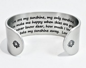 Mother to Daughter Gift ~ You are my sunshine, my only sunshine. You make me happy when skies are gray... ~ Birthday Gift / Wedding