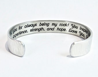 """Mom Gift from Daughter or Son / Mother's Day Gift ~ Thank you for always being my rock! You inspire me with your experience, ... - 1/2"""" cuff"""