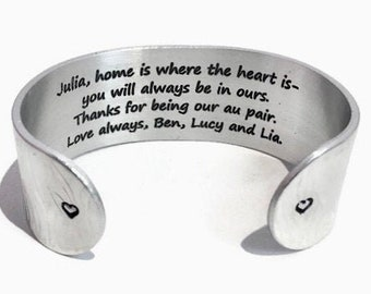 Customized Au Pair Gift   Nanny Gift   Home is where your heart is- you will always be in ours   Personalized Jewelry   Engraved Silver Cuff