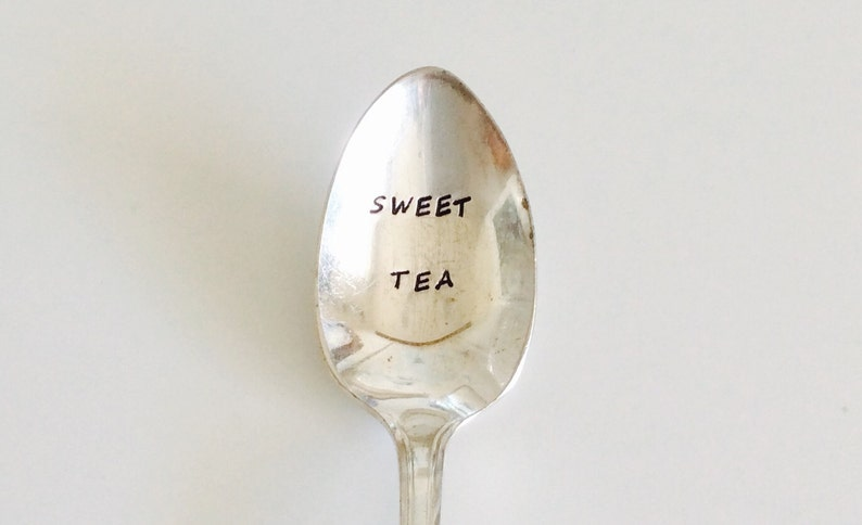 READY To SHIP  Sweet Tea  Hand Stamped Spoon  Gifts for Mom image 0