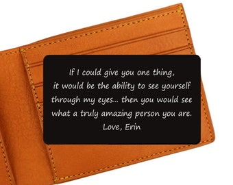 Engraved Wallet Card   If I could give you one thing   Encouragement Card   Gifts for Son   Inspirational Quote Card   Daughter Gifts