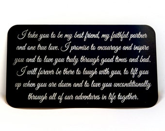 Custom Wallet Card Insert / Engraved  Wallet Card / Wedding Vows / Valentine Gift / Anniversary Gift, Wedding Day Gift, Gift for Groom To Be