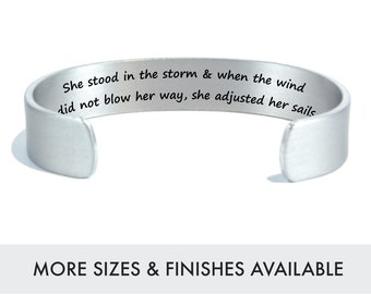 Encouragement Gift | Best Friend Inspiration | Recovery Gifts | She stood in the storm .. she adjusted her sails | Engraved Silver Jewelry