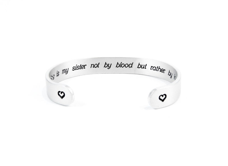c14d591e08181 Best Friend Gifts | Soul Sisters Gift | She is my sister not by blood |  Silver Friendship Bracelet | Bridesmaid Gifts | Hidden Message Cuff