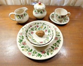 Vintage Gretchen Staffordshire Old Granite Johnson Bros Made in England 4189 66 pieces, service for 12