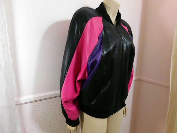 Vintage Colorful 80s  Women's Leather bomber Jacke
