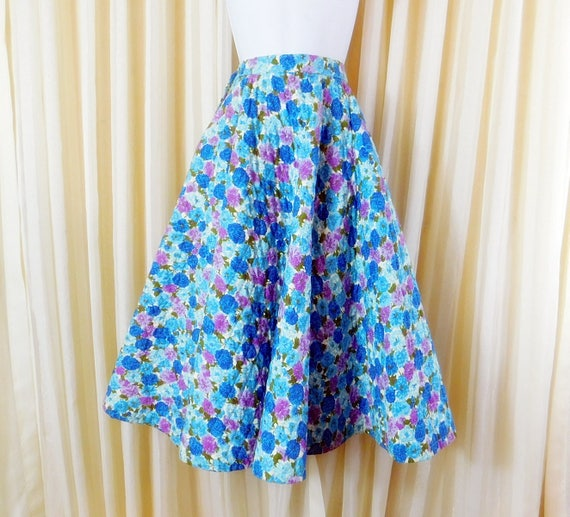 Vintage 1950s Circle Skirt, Full Skirt, Floral Ski