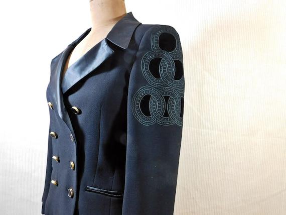 5116ffe92d80 Vintage 80s Escada by Margaretha Ley black wool double