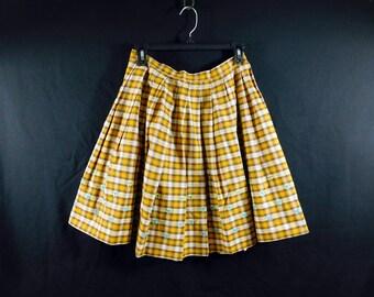 Vintage 60s mini skirt  mustard plaid pleated   cotton