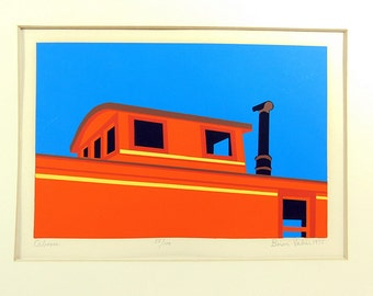 Vintage  Biron Valier  serigraph titled Caboose.Signed and numbered