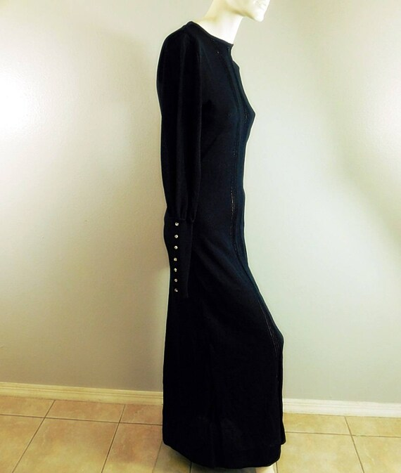 Vintage 60s 70s  black long sleeve knit maxi dres… - image 5