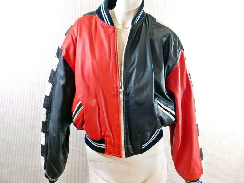 a79d4d50f Vintage Global Identity G III leather jacket, black, red and white bomber  jacket