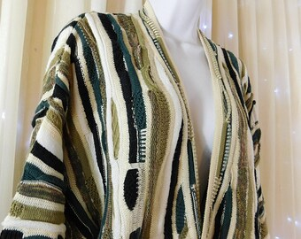 Vintage 80s J. Ferrar multicolored abstract oversized cardigan  Cosby Coogi Style knit Biggie sweater Size X large