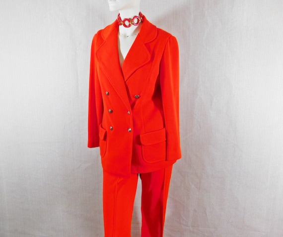 Vintage 1970s power red polyester knit pantsuit, c