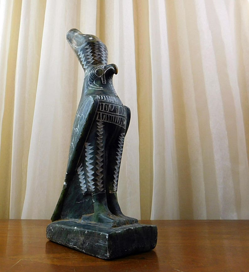 2caa49248fcce Egyptian Horus-Green-SOAPSTONE-Falcon Sculpture-Hand
