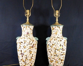 Vintage Pair of MCM Chinoiserie reticulated pierced pottery porcelain  lamps .Beautiful birds and flowers