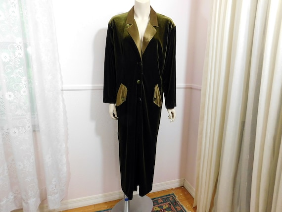 Vintage 70s moss olive green velvet and satin full
