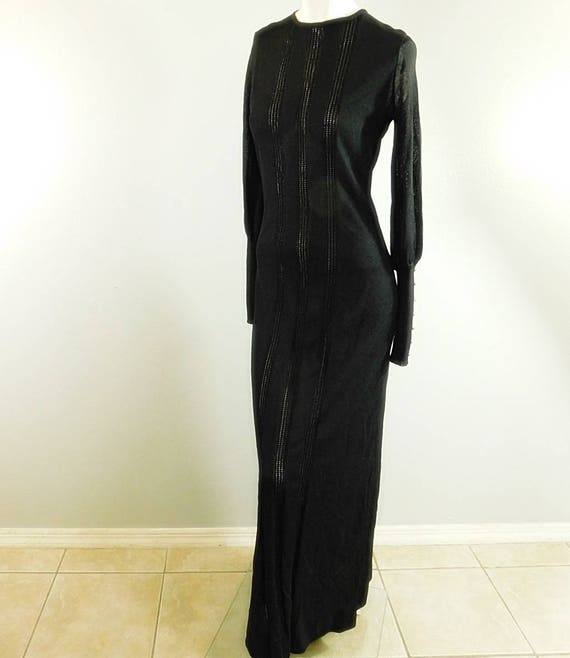 Vintage 60s 70s  black long sleeve knit maxi dres… - image 3