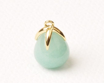 F134-G-AT// Gold Plated Top with Drop Cut Amazonite Real Natural Stone Pendant, 2pcs