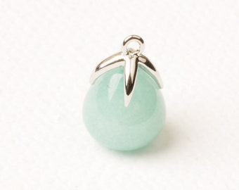 F134-R-AT// Rhodium Plated Top with Drop Cut Amazonite Real Natural Stone Pendant, 2pcs