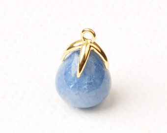 F134-G-BA// Gold Plated Top with Drop Cut Blue Aventurine Real Natural Stone Pendant, 2pcs