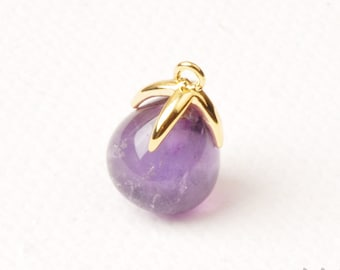 F134-G-AM// Gold Plated Top with Drop Cut Amethyst Real Natural Stone Pendant, 2pcs