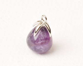 F134-R-AM// Rhodium Plated Top with Drop Cut Amethyst Real Natural Stone Pendant, 2pcs
