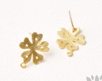 E351-MG// Matt Gold Plated Heart Petal Flower Earring Post, 2pcs