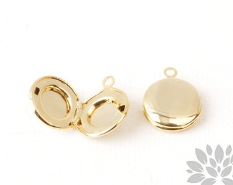 P961-01-G// Glossy Gold Plated 13mm Small Round Locket Pendant, 2pcs