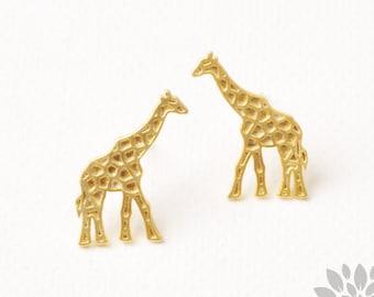 E352-MG// Matt Gold Plated Giraffe Earring Post, 2pcs