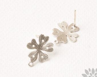 E351-MR// Matt Rhodium Plated Heart Petal Flower Earring Post, 2pcs