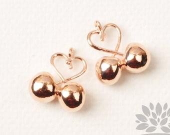 Coeur plaqué or Rose P953-RG / / pendentif cerises, 2p.