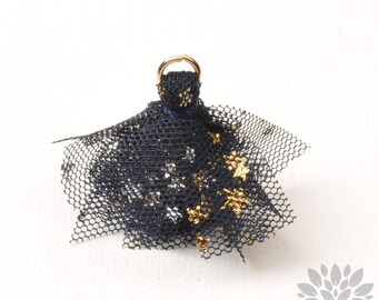 T024-NY// Gold Jumpring Star Pointed Navy Mesh Fabric Tassel Pendant, 4pcs