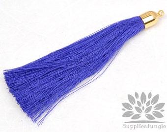 T008-G-BU// Gold Plated Round Cone Blue Tassel Pendant, 2pc