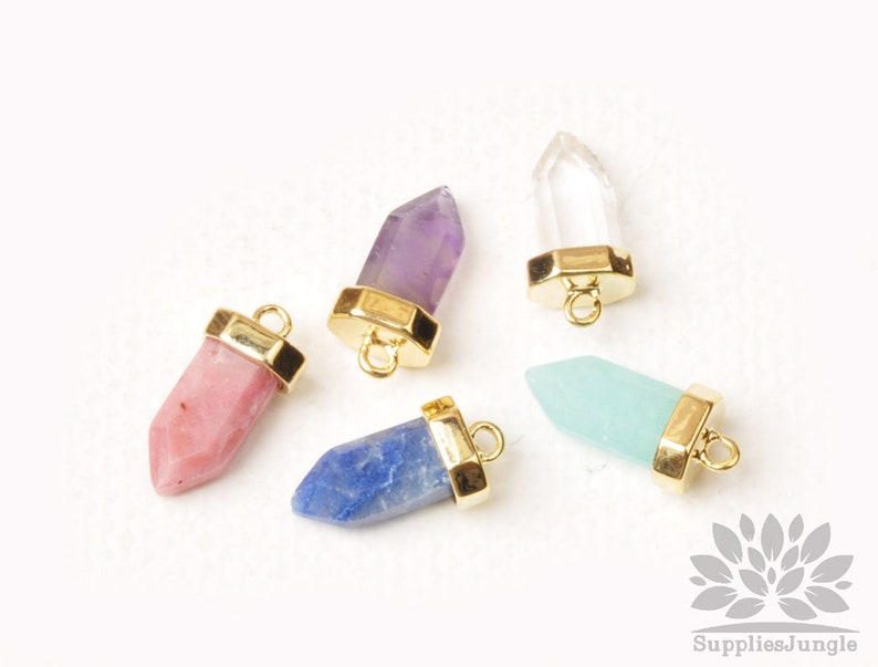 F135-G-LP Gold Plated Top with Sword Shape Cut Lapis Real Natural Stone Pendant 2pcs