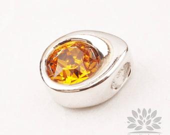P882-11-S// Birthstone Series// Gold Plated Teardrop Swarovski Topaz November Birthstone Pendant, 1pc