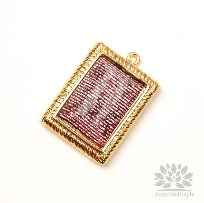 1pc P942-G-PK Gold Plated Pink Glitter Line Epoxy Rectangle Pendant