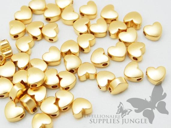 6pcs MB004-02-MRG Matt Rose Gold Pated Heart Shape Metal Beads