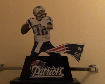 Homemade 3D Cardboard Pop-Up Table Art Standee: Tom Brady G.O.A.T. 1-of-1 glow-in-the-dark