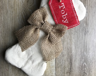 Dog Bone Stocking with Stocking Tag - Mini Bone and Personalized Stocking Tag - Quilted Pet Stocking