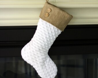 White Minky Christmas Stocking with Burlap Cuff and Two Wooden Buttons